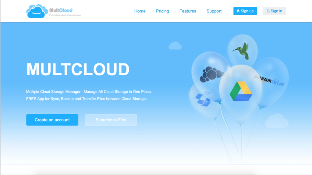 MultiCloud, main screen