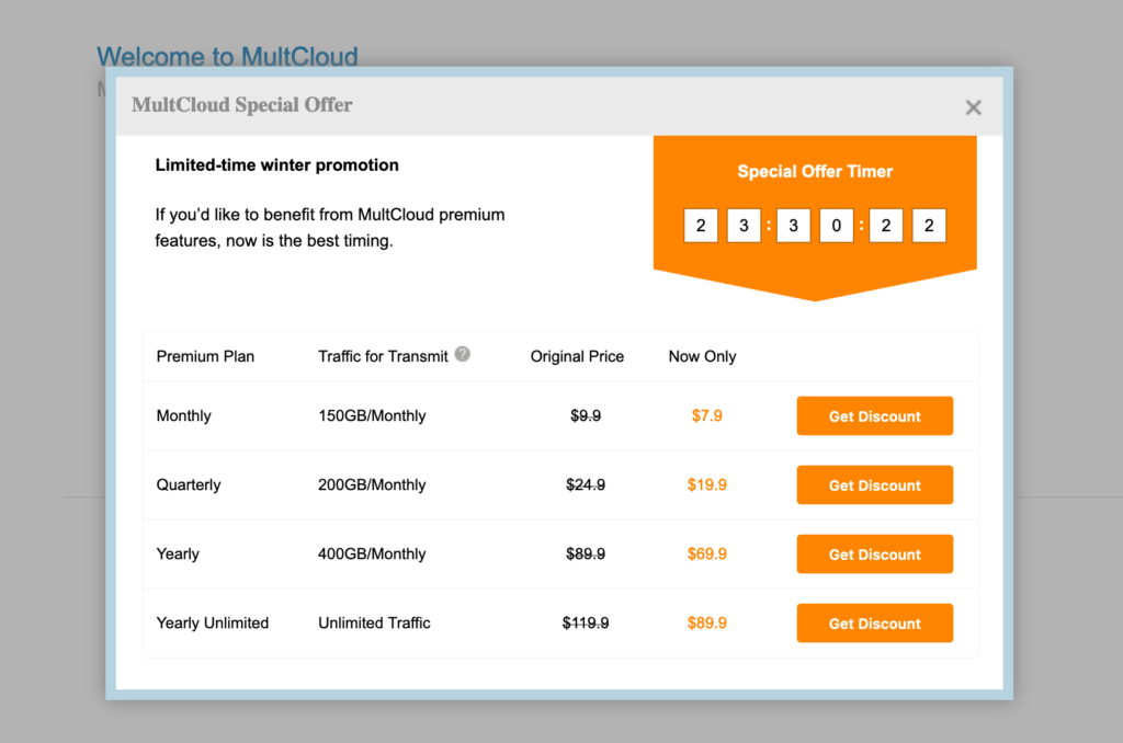 MainCloud, welcome message