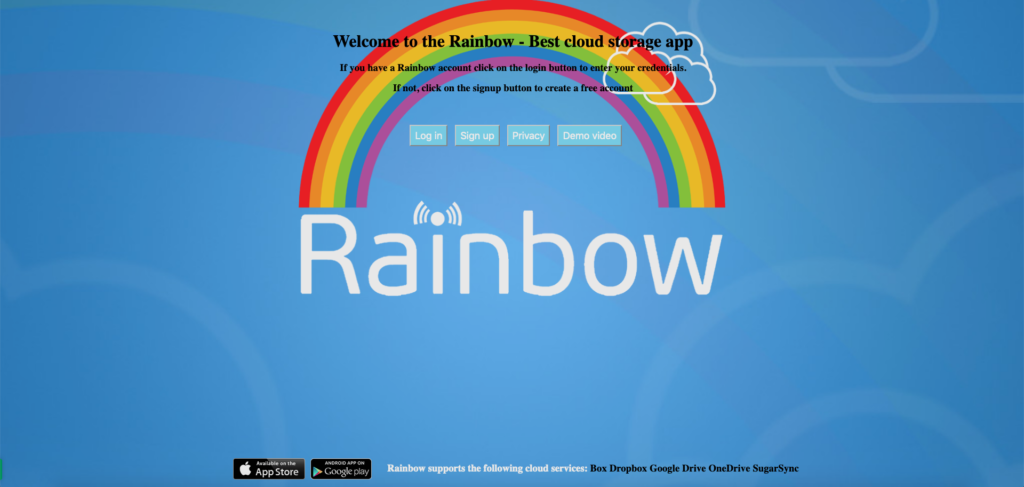 Rainbow, Welcome screen